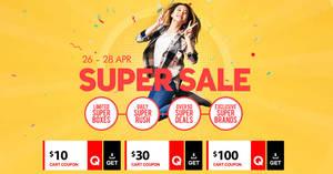 Qoo10's Super Sale is back – grab $10, $30 & $100 cart coupons! Valid till 28 Apr 2019