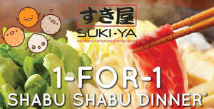 SUKI-YA: 1-for-1 Shabu Shabu dinner at Bugis+ from 18 – 24 November 2019