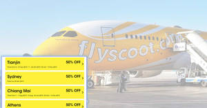 Scoot: 50% off over 50 destinations one-day sale on Tuesday, 23 April 2019!