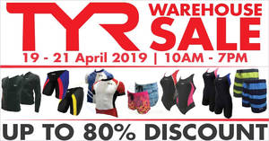TYR up to 80% off warehouse sale from 19 – 21 April 2019