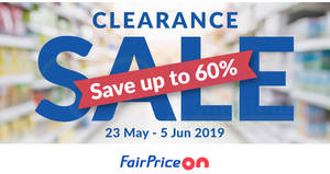 Fairprice is having a Clearance Sale online with up to 60% savings! Ends 5 June 2019