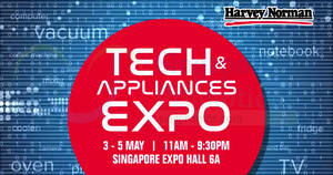 Featured image for Harvey Norman Tech & Appliances EXPO from 3 – 5 May 2019