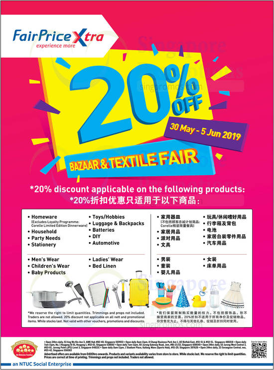 Ntuc Fairprice Xtra Outlets Are Offering 20 Off Baby