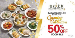 Paradise Dynasty is offering 50% off food bill at their new Suntec City outlet with Citi/Stanchart cards from 25 – 26 May 2019