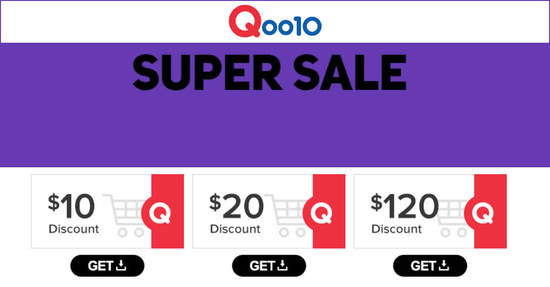 Featured image for Qoo10's Super Sale is back - grab $10, $20 & $120 cart coupons! Valid till 23 June 2019