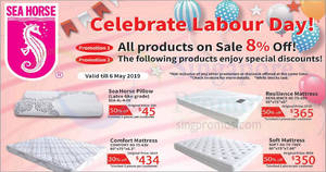 Featured image for Sea Horse: 8% off ALL products & 30% to 50% off selected items till 6 May 2019