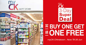 Featured image for Buy One Get One Free 3-Day Special At myCK Chinatown Branch till 30 June 2019