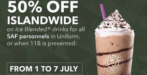 Featured image for Coffee Bean & Tea Leaf is offering 50% off Ice Blended drinks at all outlets for all SAF Personnels in uniform & 11B holders from 1 – 7 July 2019