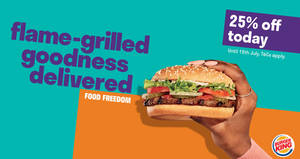 Save 25% off Burger King's entire menu when you order through Deliveroo till 15 July 2019