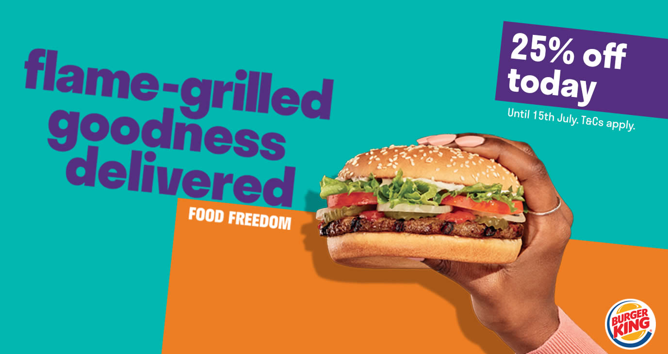 Save 25% off Burger King's entire menu when you order