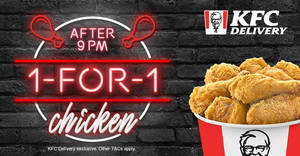 KFC Delivery is offering 1 for 1 Chicken when you order between 9pm to 11pm from 10 June 2019