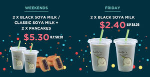 Mr Bean: 24th Anniversary deals – 2x Black Soya Milk @ $2.40 on Fridays, $5.30 combo deal on weekends and more till 12 July 2019