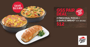 Pizza Hut Delivery: Two personal pizzas + 1 Garlic bread for $12 (U.P. $25.80) from 11 June 2019