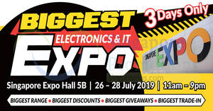 Featured image for Biggest Electronics & IT Expo at Singapore Expo (26 – 28 July 2019)