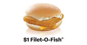 Get a $1 Filet-O-Fish® on the new McDonald's app from 22 July 2019