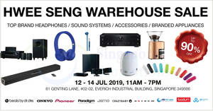 Featured image for Hwee Seng: Up to 90% off audio and branded appliances warehouse sale from 12 – 14 July 2019