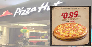 Pizza Hut is offering 99¢ regular pizzas for delivery orders till 25 August 2019