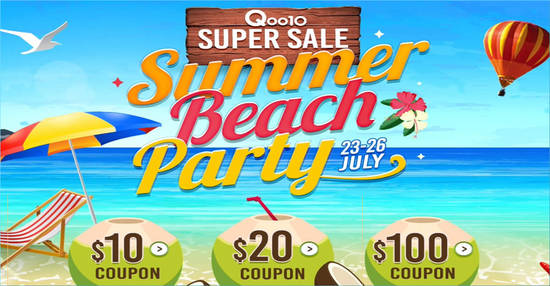 Featured image for Qoo10's Super Sale is back - grab $10, $20 & $100 cart coupons till 26 July 2019