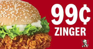 KFC Zinger Burger at $0.99 (U.P. $5.30) promo code valid for delivery orders till 31 August 2019