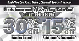 BHG: 30% OFF reg-priced items & 15% OFF sale items/cosmetics at almost all outlets from 24 – 25 August 2019