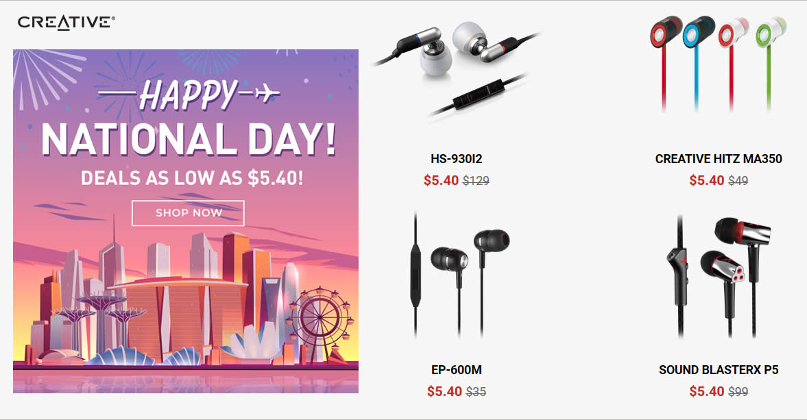 Creative e-store is offering National Day deals as low as $5 40