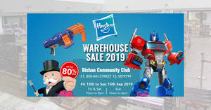 Featured image for Hasbro Warehouse Sale to offer up to 80% off discounts on your favourite toys from 13 – 15 September 2019
