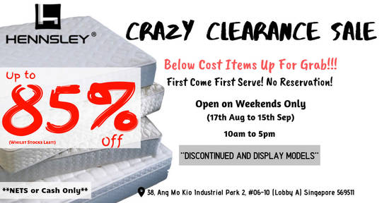Featured image for Hennsley Crazy Clearance Sale (17th Aug to 15th Sep 2019)