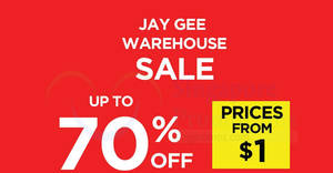 Featured image for Jay Gee's warehouse sale offers discounts of up to 70% off from 27 Aug – 1 Sep 2019