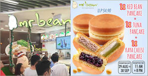 Mr Bean: S$3.50 for 3 pancakes (Red Bean Pancake + Tuna Pancake + Kaya Cheese Pancake) deal from 21 Aug 2019