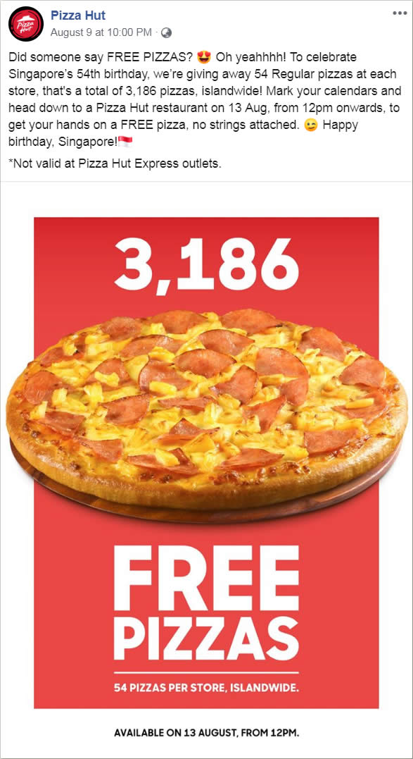 Pizza Hut is giving away free pizzas at all stores except Express