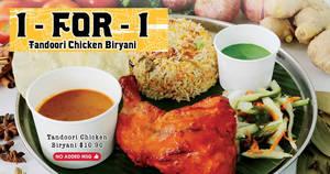 Prata Wala to offer 1-for-1 Tandoori Biryani at all Prata Wala outlets on 20 August 2019