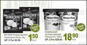 Sheng Siong: Latest 4-Days Special features Himalaya Salt at 2-for-$1.50, Haagen-Dazs ice cream at 2-for-$18.90 (U.P. $29) till 25 August 2019