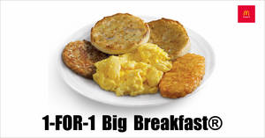 McDonald's will be offering 1-for-1 Big Breakfast® from 14 – 16 September 2020