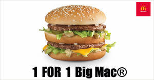 McDonald's will be offering 1-for-1 Big Mac burger from 20 – 22 Sept 2019