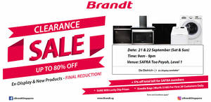 Brandt Clearance Sale – Up to 80% off home appliances from 21 – 22 Sep 2019