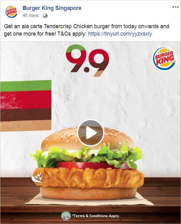 Carte Burger King.Burger King Is Offering 1 For 1 Ala Carte Tendercrisp