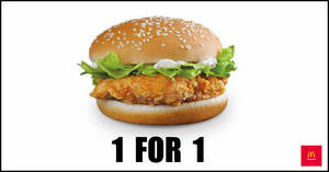 McDonald's will be offering 1-for-1 McSpicy® Burger from 17 – 19 December 2019