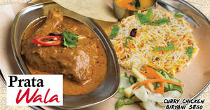 Prata Wala will be offering 1 FOR 1 Curry Chicken Biryani at all outlets on 10 December 2019