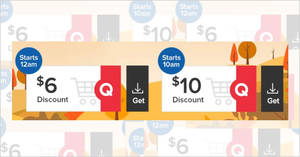 Qoo10: Grab free $6 and $10 cart coupons valid till 17 September 2019