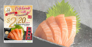 Sakae Sushi to offer fresh air-flown Norwegian Salmon Sashimi at only $2.20 (U.P. $6.39) per plate at all outlets on 24 Sept 2019
