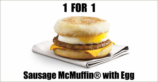 Featured image for McDonald's will be offering 1-for-1 Sausage McMuffin® with Egg from 24 - 27 September 2020