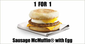 McDonald's will be offering 1-for-1 Sausage McMuffin® with Egg from 24 – 27 September 2020