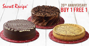 Secret Recipe is offering 1-for-1 whole cakes on selected days from 6 – 14 Sept 2019