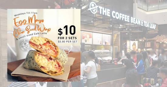 Featured image for $10 for two Egg Mayo Chia Seed Wrap with Cafe Latte at The Coffee Bean & Tea Leaf on weekdays from 4 September 2019