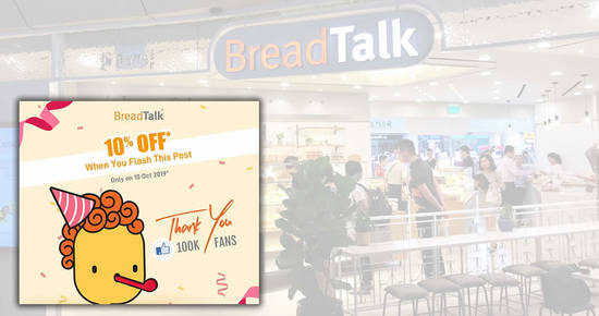 Featured image for Enjoy a 10%* off your purchases at BreadTalk outlets on 10 October 2019