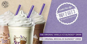 Coffee Bean & Tea Leaf outlets are offering Buy-2-Get-1-Free The Original Ice Blended® drinks from 21 – 22 Oct 2019