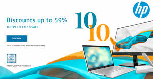 "HP S'pore online store offers discounts of up to 59% off in their ""Perfect 10"" sale till 31 October 2019"