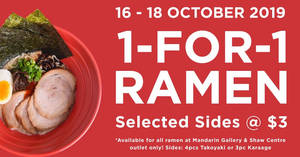 IPPUDO to offer 1-for-1 ramen promotion, free limited-edition ramen merchandise and more from 16 – 18 Oct 2019