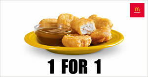 McDonald's will be offering 1-for-1 6pc Chicken McNuggets® from 16 – 18 October 2019