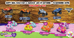 McDonald's latest Happy Meal toys features Cutie Cars & Monster Jam! From 17 Oct – 13 Nov 2019